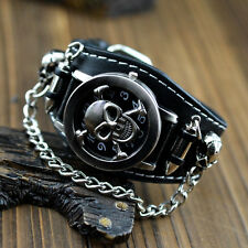 NEW Punk Rock Chain Skull Leather Womens Mens Bracelet Cuff Gothic Wrist Watches