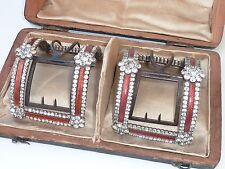 STUNNING RARE ANTIQUE GEORGIAN SILVER ENAMEL & PASTE BOXED SHOE BUCKLES C1760