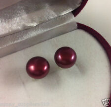 Natural red freshwater pearl earrings 9-10 mm silver stud