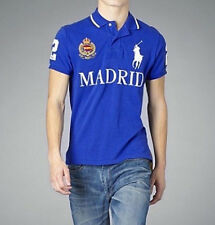 RALPH LAUREN MADRID Spain Polo T-Shirt Top Blue Custom Fit - Big Pony - Size XL
