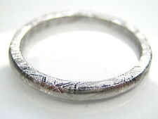 9.5/ S1/2  GIBEON IRON NICKEL METEORITE 3MM THIN BAND RING 3.1g