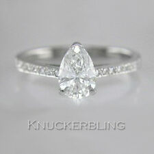 Certified D IF VG 1.16ct Pear Shape Diamond Solitaire Platinum Ring Engagement