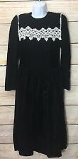 Jessica McClintock Gunne Sax dress Vtg 80s Black Velvet White Lace Collar 12