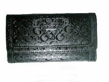 GUESS Women's Polished SLG Trifold Clutch Wallet Black New NWOT