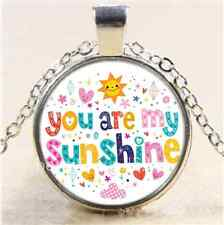 colorful You Are My Sunshine Cabochon Glass Tibet Silver Chain Necklace