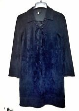 Anna Sui Black Suede Embroidered Dress Size 4
