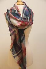 Newly Women Bloggers Blanket Oversized Tartan Scarf Purple Evergreen Checked