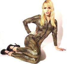 Jumpsuit Limited New Ladies  Catwoman Onesie Black & Gold Sexy Club Wear 8-12