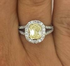 2.03 Ct Oval Cut Enhanced Fancy Yellow Diamond Engagement Ring 14K White Gold