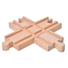 1 Pcs Wooden Cross Bifurcated Track Railway Toys Compatible All Major Brands New