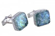 Beautiful 925 Sterling Silver Ancient Roman Glass Cuff Links Man Jewelry
