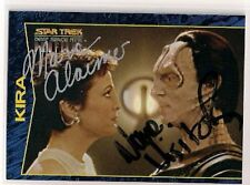 Star Trek Signed Card DUAL Auto DS9 Profiles Marc Alaimo Nana Visitor v53