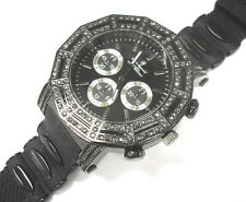 Iced Out Bling Bling Big Case Rubber Band Men's Watch Black Item 6070