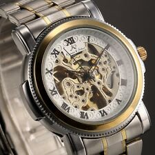 KS Skeleton Golden Dial Mens Automatic Mechanical Steel Sport Wrist Watch