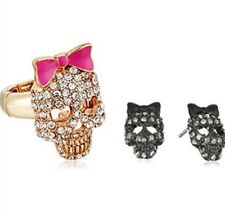 Betsey Johnson Pave Skull Stretch Ring and Stud Earrings $55