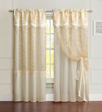 All-in-One Gold Window Curtain Drapery Panel: Double-Layer, Embroidered