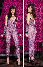 Crotchless PINK LEOPARD/ANIMAL PRINT Footless Bodystocking w/ Arm Warmers O/S