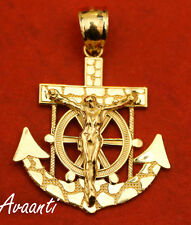 Real 10k Gold Nugget Anchor Jesus Cross Crucifix Pendant Charm Piece