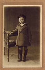 Carte Photo vintage card RPPC enfant fillette manteau habits mode fashion kh0192