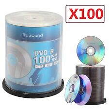 Pack 100 DVD+R 120 Mins 4.7GB 16x Speed Full Face Recordable Blank CD DVDS Discs