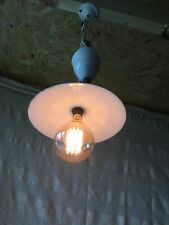 FRENCH CERAMIC RISE AND FALL PULLEY CEILING LIGHT, ENAMEL SHADE & EDDISON BULB