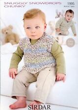 1995 SIRDAR SNUGGLY SNOWDROPS CHUNKY KNITTING PATTERN BOYS SWEATER & TANK TOP