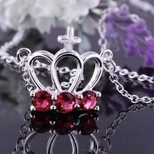 925 Sterling Silver Necklace Pendant Crown Red Zirconia B18