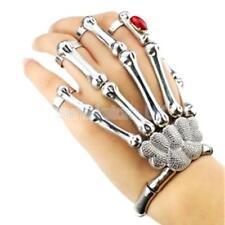Silver Talon Skeleton Skull Hand Finger Bone Slave Bracelet Ring Gothic Punk
