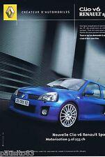 PUBLICITE ADVERTISING 075  2003  RENAULT   la CLIO V6 SPORT
