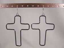 "Black cutout outline CROSS big huge dangle earrings 3 7/8"" long"
