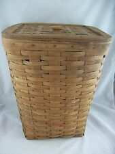 Longaberger 1983 Small Waste Basket Hamper w Lid Darker Vintage