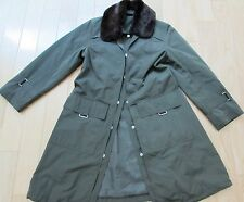 POLO RALPH LAUREN RAIN COAT WITH FAUX FUR REMOVABLE COLAR FOREST GREEN S M 4 6 8