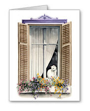 WHITE CAT IN THE WINDOW Set of 10 Note Cards With Envelopes
