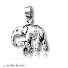 925 Sterling Silver Elephant & baby family pendant gift uk