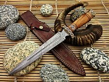 Custom Made Damascus Hunting Dagger Knife with Olive Wood Handle- ExoticEdge-USA