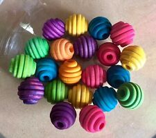 10 x Small Colour Wooden Beehive Beads (16mm) Round Wooden Carved Bird Toy Parts
