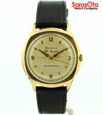 Vintage Bulova 10K Gold Plated Black Leather 23 Jewels Automatic Men's Watch