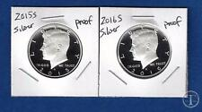 2015 S  AND 2016 S  90% SILVER PROOF Kennedy Half Dollar Set-Two Coins