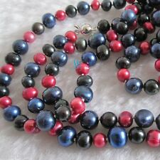 "48"" 6-9mm Black Red Navy Freshwater Pearl Necklace UJ"