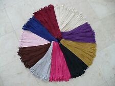 """14"""" #3 Nylon Coil Close End Auto Lock Assorted Colors - 100 Zippers"""