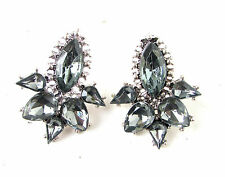 Charcoal Dark Grey Silver Stud Earrings Great Gatsby 1920s Diamante Flapper 985