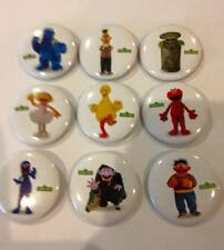 Lot of 9 Sesame Street Badges - 3cms diameter - for loot bags
