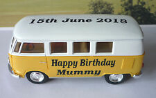 PERSONALISED Happy Birthday MUMMY & DATE Gift Yellow VW CAMPER Van BUS Present
