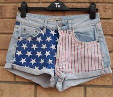 TOPSHOP LIGHT BLUE DENIM TURN UP AMERICAN FLAG RED JEANS HOT PANTS SHORTS 10 S