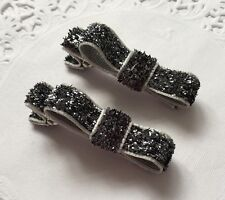 2 Packs Of Glittery Black Simple hair bow Clips/aligator Clip/schools Uniform