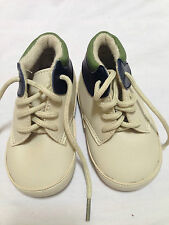 """Baby Boy Infant Shoe Size 2-3 Blue Green Beige Lace up Ankle 5"""" Long New w Tags"""