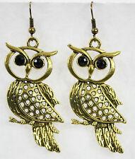 """Jumbo huge metal wise hoot owl dangle drop earrings gold black gem eyes 2"""""""