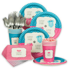Bow Or Bowtie Gender Reveal Standard Tableware Kit (Serves 8) - Party Supplies
