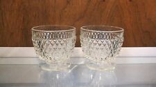 Set of 2 Vintage INDIANA GLASS Diamond Point Clear Scallop Foot Open Sugar Bowl