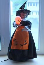 "28"" Spooky Animated Halloween Witch Figure w/ Cackling Sounds & Glowing Eyes"